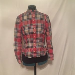 Ralph Lauren Rugby Plaid Fitted Button Plaid Shirt